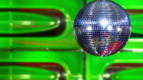 disco mirror ball green slowly Footage
