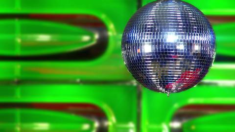 disco mirror ball green slowly Stock Video Footage