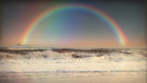 (1200) Full Rainbow Sky Ocean Surf Waves Beach Sunset Cruise Ship LOOP Footage