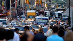 Crowded street, New York Footage