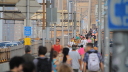 Pedestrians on Brooklyn Bridge Stock Video Footage