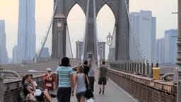 Pedestrians on Brooklyn Bridge, New York City Stock Video Footage