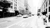 New York Street, Black And White stock footage