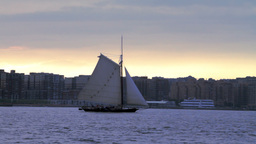 Yacht Sailing In Hudson River Stock Video Footage
