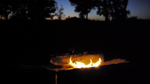 camp fire camping twillight dusk HD Stock Video Footage
