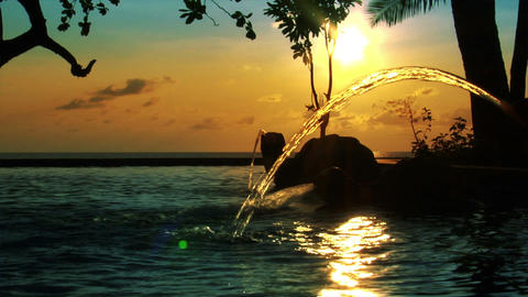 fountain sundown ocean pool Stock Video Footage
