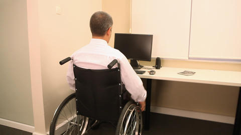 Successful businessman with wheelchair Footage