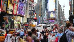 Crowd on Time Square in New York City Stock Video Footage