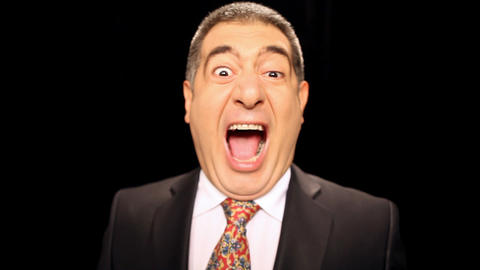 Angry businessman shouting and screaming, emotion, stress Stock Video Footage