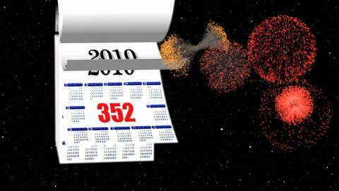 Loopable New Year 2010-2011 calendar, fireworks in space Animation