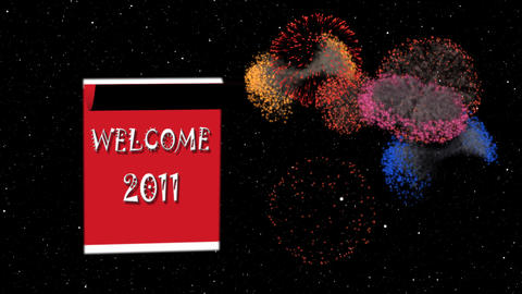 Loopable New Year 2010-2011 calendar, fireworks in space Stock Video Footage