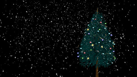 Loopable spinning Christmas tree with snow Stock Video Footage