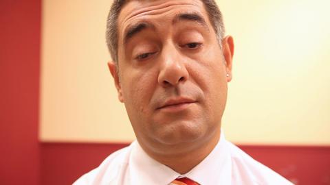 Tired businessman falling asleep Footage