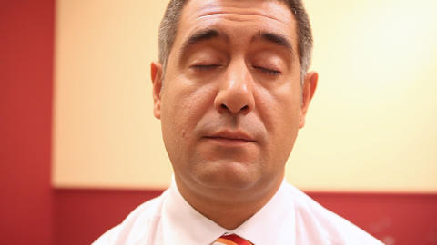 Tired businessman falling asleep Stock Video Footage