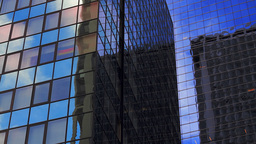 Close-up, corporate buildings, NYC Footage