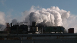 HD2008-winter-3 smoke stacks cold Z Stock Video Footage
