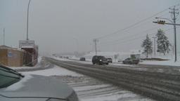 HD2008-12-7-2 snow traffic Stock Video Footage