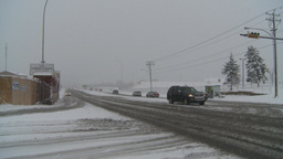 HD2008-12-7-2 snow traffic Stock Video Footage