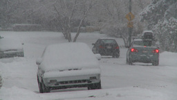 snow traffic residential road Footage