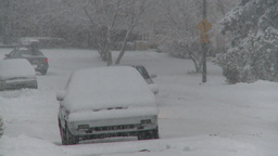 snow traffic residential road Stock Video Footage