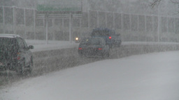 HD2008-12-7-8 snow traffic Stock Video Footage