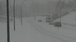 HD2008-12-7-10 snow traffic Stock Video Footage