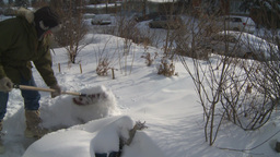 HD2008-12-7-28 snow shovel walk Stock Video Footage