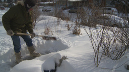 HD2008-12-7-30 snow shovel walk Stock Video Footage