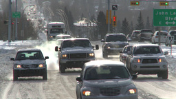 HD2008-12-7-40 snow traffic Stock Video Footage