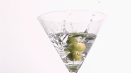 Skewer with olive in super slow motion falling Footage
