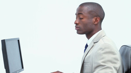 Black businessman working Stock Video Footage