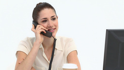 Young female worker on the phone Stock Video Footage