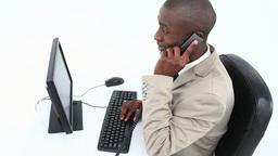 Successful black businessman Footage