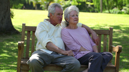 Retired couple sitting on a bench Footage