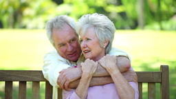 Retired man embracing his wife Footage