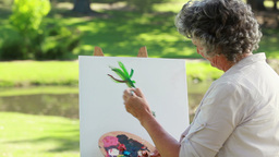Mature woman painting on a canvas ライブ動画
