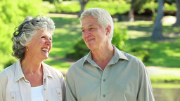 Smiling mature couple walking in front of a lake Footage