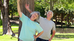Mature couple doing fitness exercises Stock Video Footage