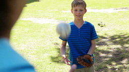 Smiling boy playing with a baseball with his fathe Footage