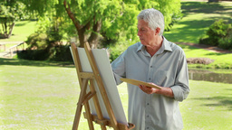 Serious mature man painting on a canvas Footage