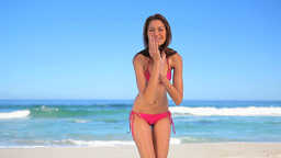 Smiling brunette woman having fun Stock Video Footage