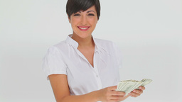 Businesswoman counting bank notes Stock Video Footage