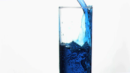 Blue liquid in super slow motion overflowing in a  Footage