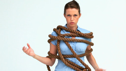 Woman attached with a big rope Footage