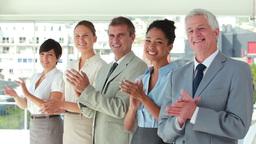 People in suit applauding in line Footage