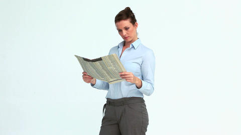 Happy businesswoman reads the news and crosses the Stock Video Footage