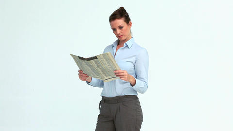 Happy businesswoman reads the news and crosses the Footage