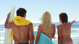 Three surfers looking out at the water Footage