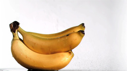Delightful bananas in super slow motion being wet Footage