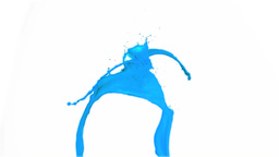 Blue lines of paint in super slow motion falling Footage